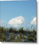 Cloud Trio And Dunes - Huntington Beach Sc Metal Print