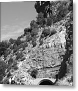 Cloudcroft Tunnel  Black And White Metal Print