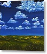 Clouds And Grass Field Metal Print