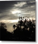 Clouds And Silhouetted Trees Metal Print