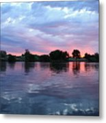 Clouds And Sunset Reflection In Prosser Metal Print
