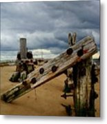 Clouds And Wooden Structure Metal Print