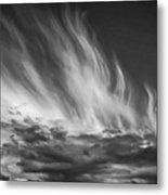 Clouds - Flame Shape - Black And White Metal Print