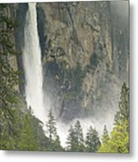 Clouds Hang Over Bridaveil Falls Metal Print