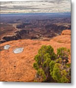 Clouds Junipers And Potholes Metal Print