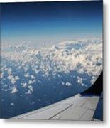 Clouds Under An Airplane Wing Metal Print
