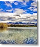 Clouds Over Distant Mountains Metal Print