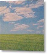 Clouds Over Green Field Metal Print