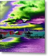 Clouds Over Harbor Island Metal Print