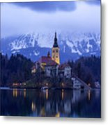 Clouds Over Lake Bled Metal Print