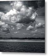 Clouds Over Masonboro Island In Black And White Metal Print