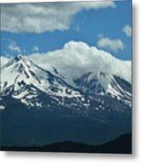 Clouds Over Mt Shasta Metal Print