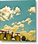 Clouds Over Oil Field Equipent Metal Print