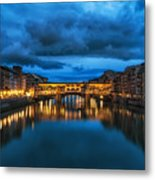 Clouds Over Ponte Vecchio Metal Print