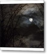Clouds Passing The Snow Moon Metal Print