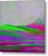 Clouds Rolling In Abstract Landscape Purple And Hot Pink Metal Print