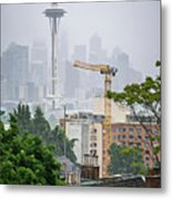 Cloudy And Foggy Day With Seattle Skyline Metal Print