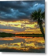 Cloudy Lake Sunset Metal Print