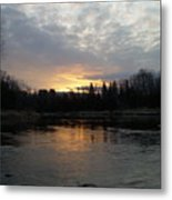 Cloudy Mississippi River Sunrise Metal Print