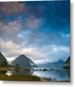 Cloudy Morning At Milford Sound At Sunrise Metal Print