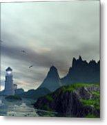 Cloudy Ocean Scene Metal Print