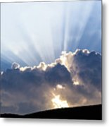 Cloudy Sky Over Mountains Silhouette At Sunset Metal Print