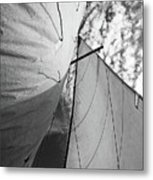 Cloudy Sky Seen Through Billowing White Sails Metal Print