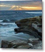 Cloudy Sunset At La Jolla Shores Beach Metal Print
