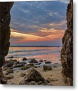 Cloudy Sunset At Low Tide Metal Print