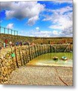 Clovelly Harbor Breakwater In Devon, Uk Metal Print