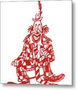 Clown With Mouse Metal Print
