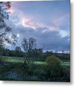The Evening Is Fallen Over The Meadow Colouring The Sky Pink And Blue. Metal Print