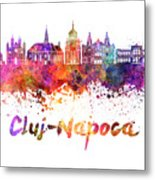 Cluj-napoca Skyline In Watercolor Splatter Metal Print