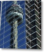 Cn Tower Reflected In A Glass Highrise Metal Print