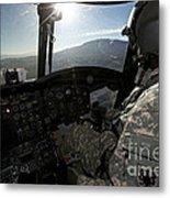 Co-pilot Flying A Ch-47 Chinook Metal Print