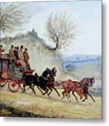 Coaching Oil Of A Royal Mail Coach Crossing Landscape Metal Print