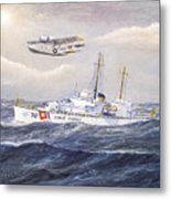 Coast Guard Cutter Pontchartrain And Coast Guard Aircraft  Metal Print