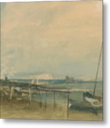 Coast Scene With White Cliffs And Boats On Shore Metal Print