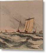 Coast Stormy Sea Metal Print