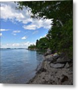 Coastal Maine's Rocky Shore On A Beautiful Summer Day Metal Print