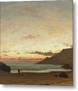 Coastal Scene With A Man And A Dog Metal Print