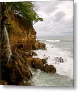 Coastline Waterfall Metal Print