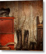 Cobbler - The Shoe Shiner 1900  Metal Print by Mike Savad