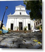 Cobblestone And Cathedral  Metal Print