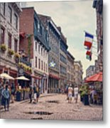 Cobblestone Streets In Old Montreal  Metal Print