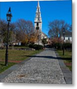 Cobblestone To Trinity Church Newport Rhode Island Metal Print