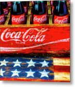 Coca Cola And Wooden American Flag Metal Print