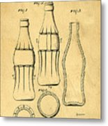 Coca Cola Bottle Patent Art 1937 Blueprint Drawing Metal Print