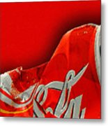 Coca-cola Can Crush Red Metal Print