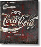 Coca Cola Grunge Sign Metal Print